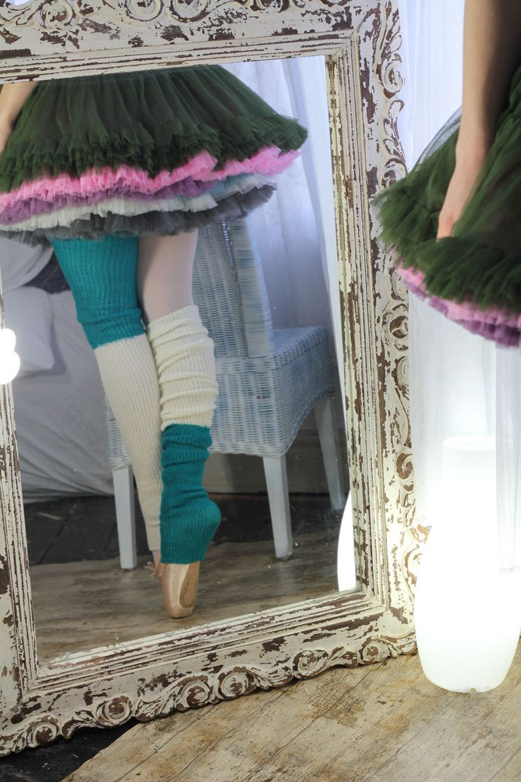 YOGA/Dancer's LEGWARMERS  - hand kranked and finished -thigh high one size fits all- WOOLBLEND - green and white -  one of a kind by footfetishsocks on Etsy