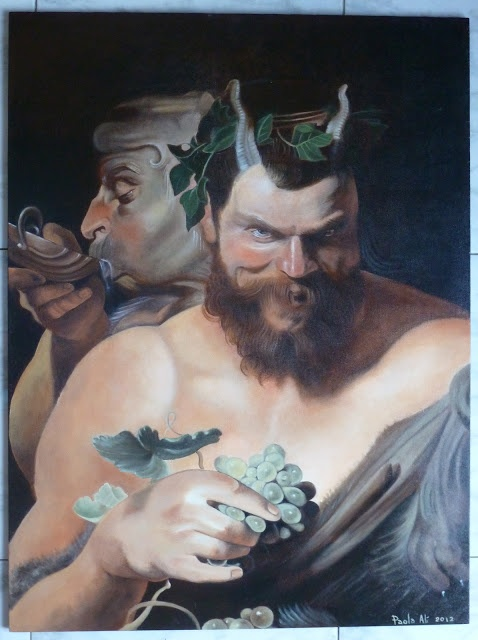 Two Satyrs Rubens handmade oil painting repro on wood panel