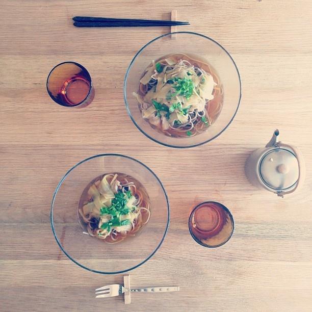 大根と豚肉と三つ葉と生姜のお蕎麦。  栗原はるみ先生のレシピを参考にして。 - @yuu1026- #webstagram