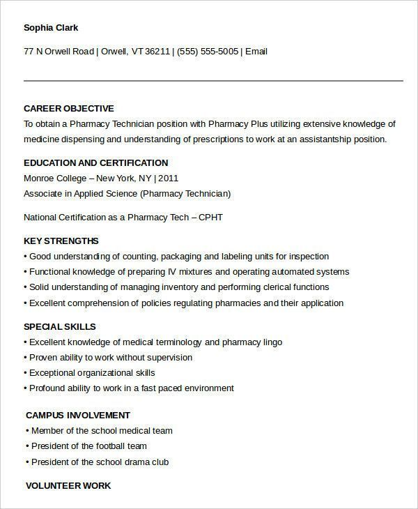 Pharmacy Technician Resume Objectives Luxury 10 Pharmacy Technician Resume Templates Pdf Doc Pharmacy Technician Resume Objective Sample Resume