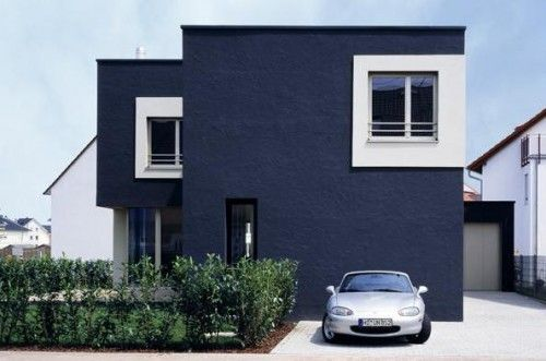 Blue Stucco House Contemporary Urban Chic Funky