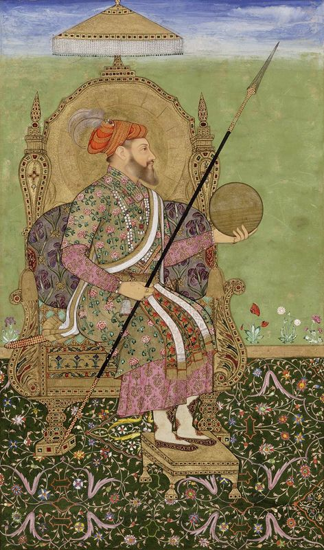The emperor Shah Jahan enthroned. Album of Indian paintings and calligraphy, India, 17th century AD. Bodleian Library, University of Oxford.