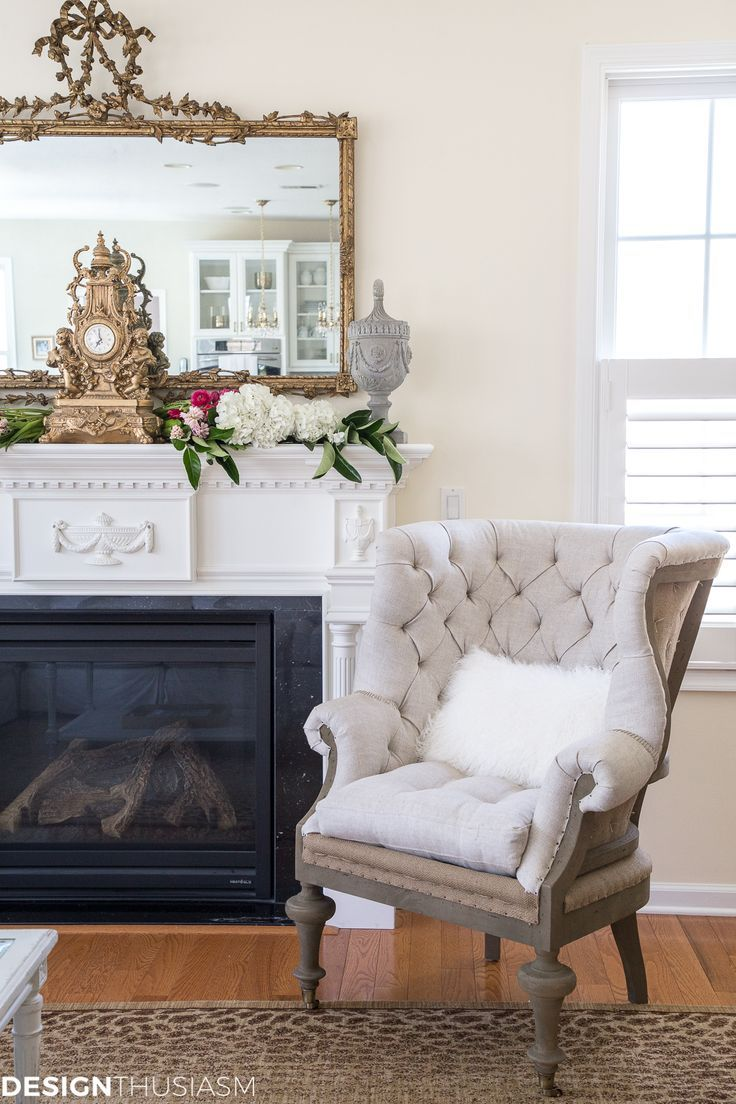 room refresh a french style chair and a spring mantel rh pinterest com