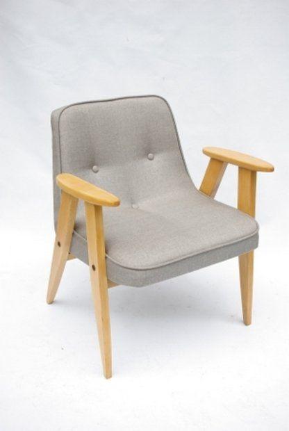proj.CHIEROWSKI J.M. .Fotel 366.  Wykonano w Dolnośląskiej Fabryce Mebli w Świebodzicach w 1962 roku