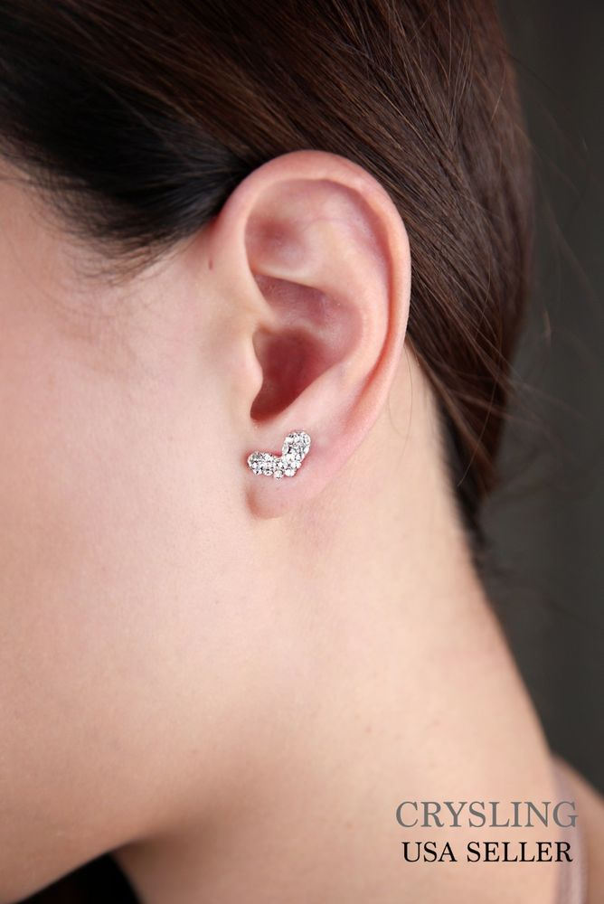 Elegant and Trendy Heart Jewelry Silver Plated Crystal Rhinestone Earrings USA #Unbranded