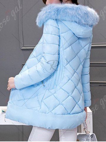 Long Hooded Puffer Coat With Fur Trim - AZURE XL Mobile