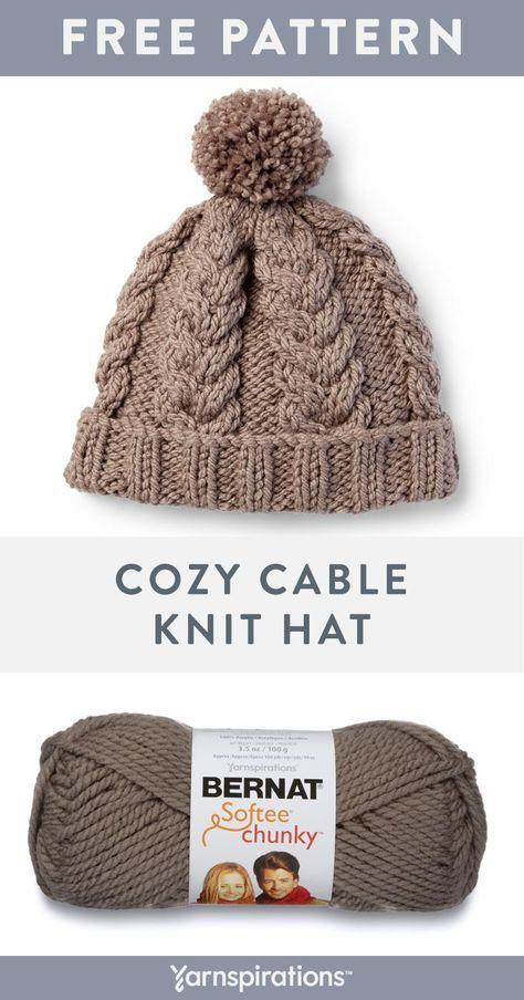 Este padrão de chapéu de malha de cabo livre usa duas bolas de super robusto Bernat Softee Chu ...