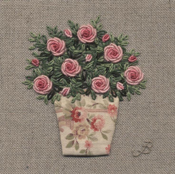 Jo Butcher, Embroidery Artist - Vintage Floral Pot