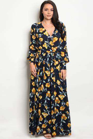 62ba54e2dc8 Ladies fashion plus size long sleeve printed chiffon maxi dress with a v  neckline