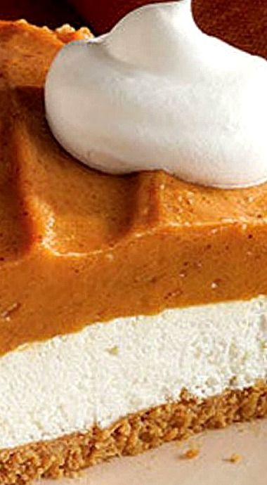 Creamy Two-Layer Pumpkin Pie - Super cool. Super whipped. The secret to this layered take on pumpkin pie is the creamy yet airy combo of cream cheese and COOL WHIP Whipped Topping. ❊