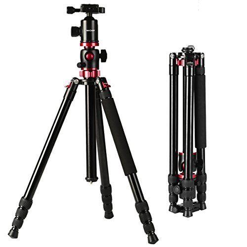 Kamera Stativ K&F Concept® Stativ Tripod,Reise Stativ,Leichtes Fotostativ,Dreibeinstativ Kamera,Kamerastativ,Stativ Kugelkopf,Stativ dslr mit 90 Grad Mittelsäulen,3D-Kugelkopf und Einbeinsativ-Funktion 4 Segmente - http://kameras-kaufen.de/k-f-concept/183-5cm-aluminium-stativ-kamera-k-f-concept-tripod