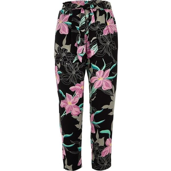 River Island Petite black floral tie waist tapered pant ($76) ❤ liked on Polyvore featuring pants, black, tapered trousers, women, floral pants, petite trousers, floral trousers, tapered leg pants and ruffle pants