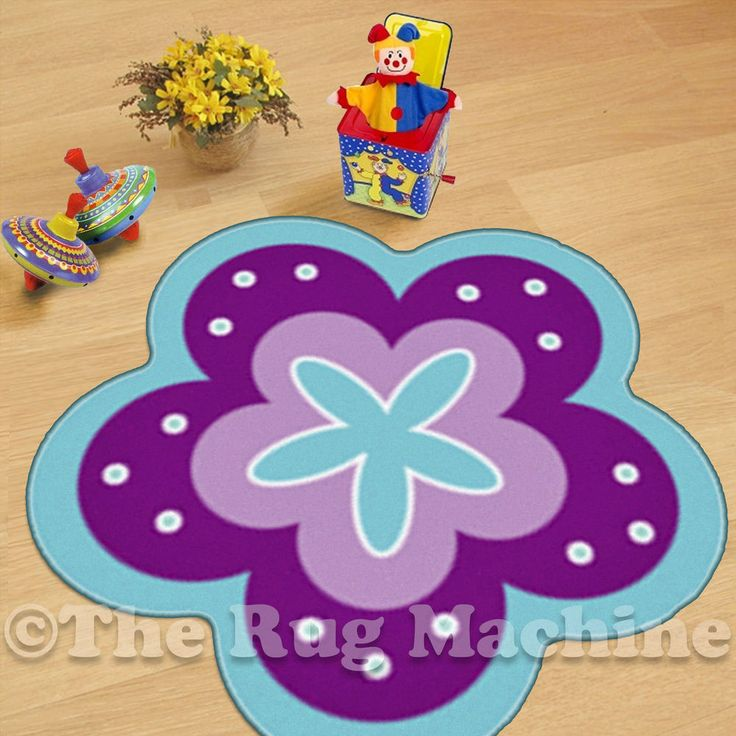 FLOWERS SHAPE BLUE KIDS FUN PLAY RUG 67x67cm NON-SLIP & WASHABLE **NEW**