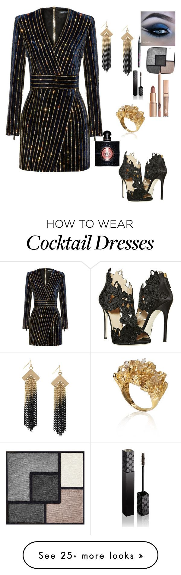 """Untitled #1468"" by greenrain on Polyvore featuring Balmain, La Perla, Nicole By Nicole Miller, Niza Huang, Barry M, Yves Saint Laurent and Gucci"