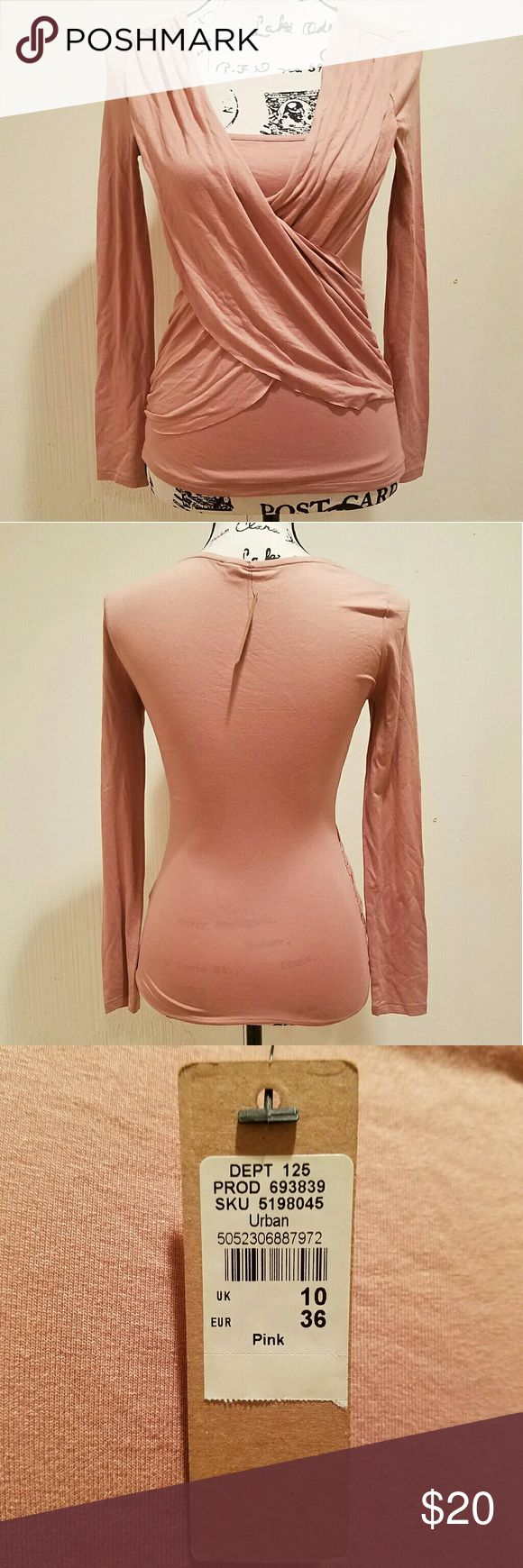 River Island pink ruched wrap top Gorgeous pink color, ruched wrap front with fitted top underlayer. Long sleeve. Size is UK 10 which translates to US 6 (and Eur 36). Brand new. River Island Tops