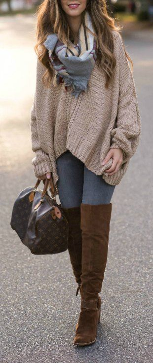 Chunky Oversized Sweater + Brown OTK Boots