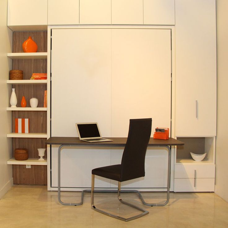 Ulisse Desk, a queen-size wall bed (murphy bed), with a 5-foot desk on the front offers multifunctionality of a work space during the day and a bed at night!