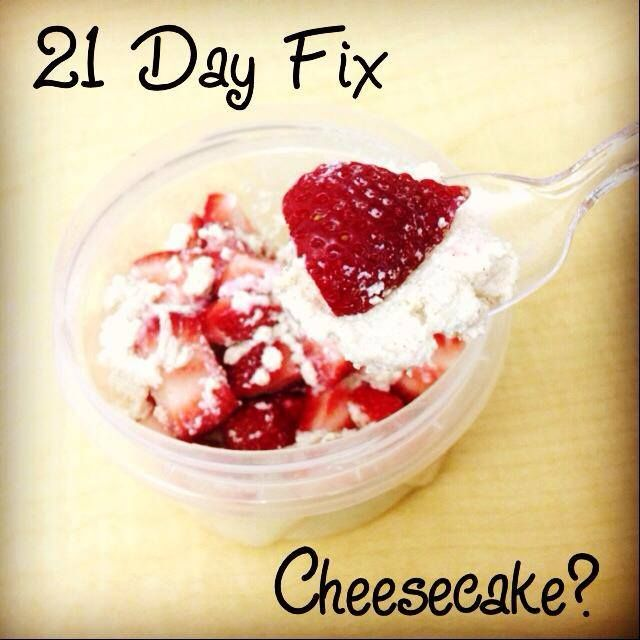 Yep. I'm eating cheesecake for breakfast & staying on track with my eating plan! (I'm at work this morning so excuse the lame plastic bowl & spoon!) This is just 1 red container of low-fat Ricotta mixed with a bit of cinnamon, stevia, & a splash of vanilla extract, & 1 purple container of fresh strawberries. It tastes like cheesecake but it's HEALTHY! Totals: 1 red, 1 purple