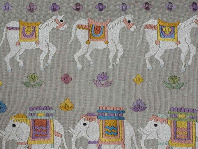 象と馬の刺繍がかわいい名古屋帯