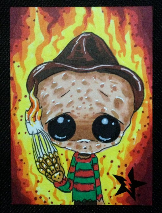 Sugar Fueled Freddy Krueger A Nightmare on Elm Street Horror lowbrow creepy cute big eye ACEO mini print