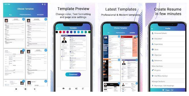 Resume Builder App Best App For Creating Professional Cv In 2020 Resume Builder Resume Design Resume Template