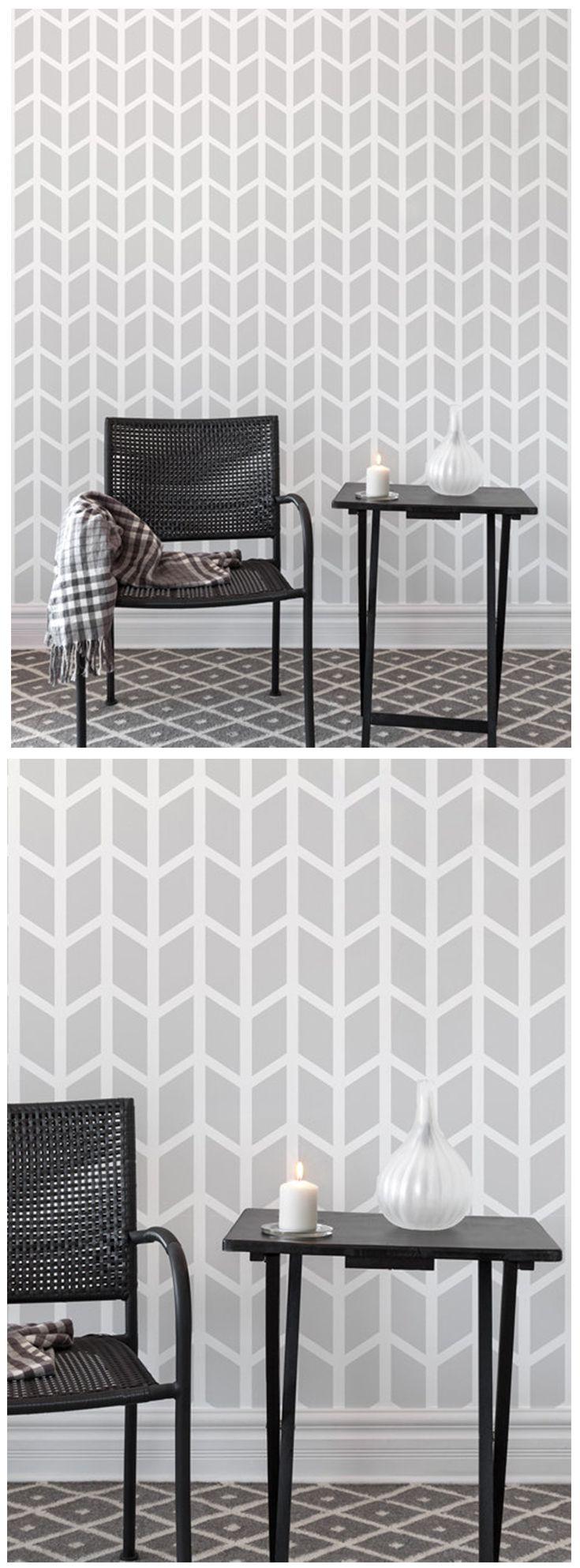 Chevron geometric pattern, wall stencil for interior wall decor & more.