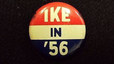 "Vintage 1956 ""Ike in '56"" Pinback Button - Dwight Eisenhower"
