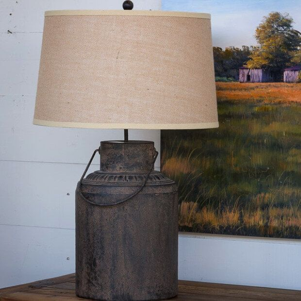 24 Rustic Farmhouse Milk Can Decor Ideas For A Touch Of Country Charm Farmhouse Table Lamps Table Lamps Living Room Modern Lamp