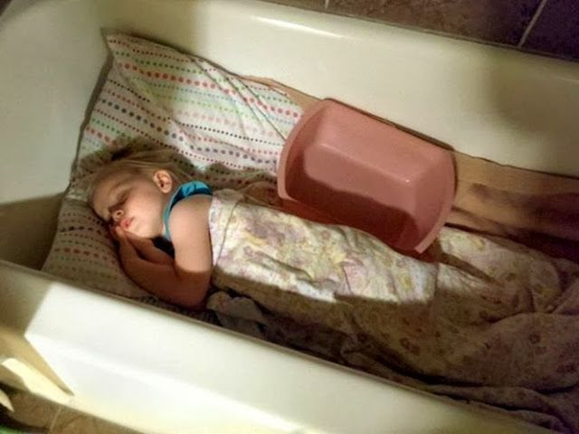 Make a bathtub bed for your little ones who can't make it in the toilet when they have the flu:: pinning with purpose