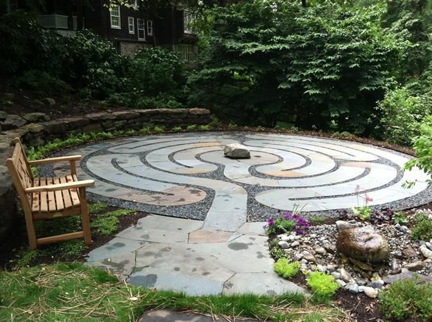 Healing Labyrinth Garden | Garden Design A place for healing, calming and reflection. Walk the path. Elements of the surrounding garden also feed into the experience:water fountain to cleanse your hands/mind before you begin, a bench to sit and focus on the whole space afterwards.