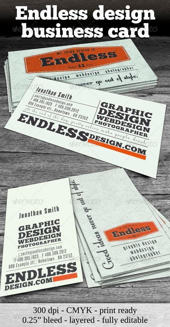 Endless Retro Business Card Retro Business Card Vintage Business Cards Business Cards Layout