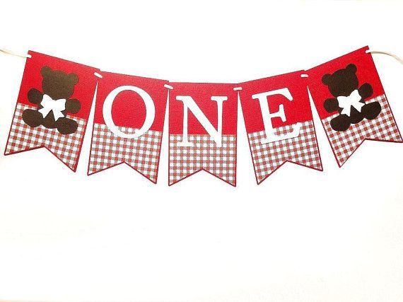 ONE Teddy Bear Banner Red teddy bear's picnic. First birthday, I am one.