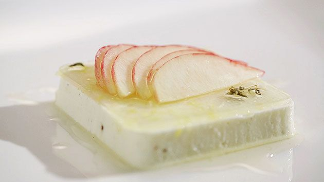 MKR4 Recipe - Yoghurt Pannacotta With Lemon Zest Jelly, White Peaches And Thyme Syrup
