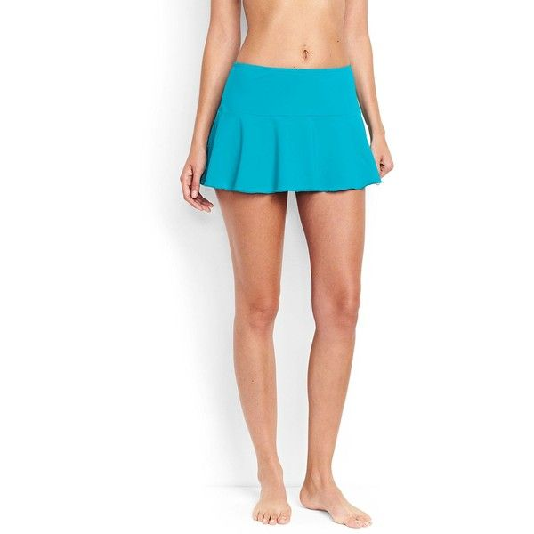 Lands' End Women's Petite Flounce Mini SwimMini Skirt Control ($52) ❤ liked on Polyvore featuring swimwear, bikinis, bikini bottoms, blue, frilly bikini, petite swimwear, mini bikini, lands end swimwear and frill bikini bottoms