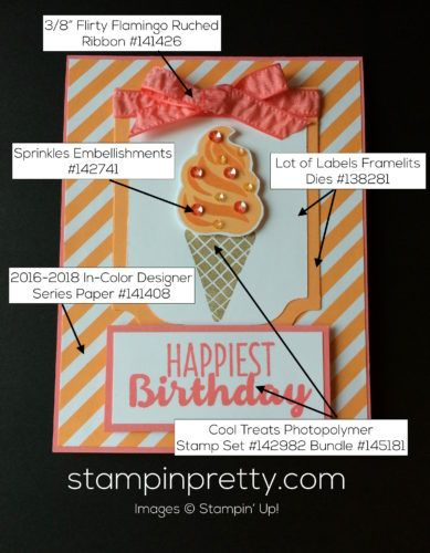 Cool Treats Stamp Set & Frozen Treats Framelits Dies Birthday Card.  Mary Fish, Stampin' Up! Demonstrator.  1000+ StampinUp & SUO card ideas.  Read more http://stampinpretty.com/2017/01/stampin-up-cool-treats-suite-is-scrumptious.html