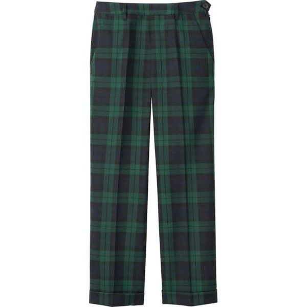 UNIQLO Wide Leg Check Ankle Length Trousers ($6.11) ❤ liked on Polyvore featuring pants, trousers, bottoms, green wide leg pants, green trousers, short pants, wide leg pants and green wide leg trousers