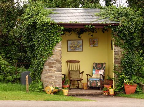 Bus stop in Fowey, Cornwall, UK.  Yes, this is a bus stop!