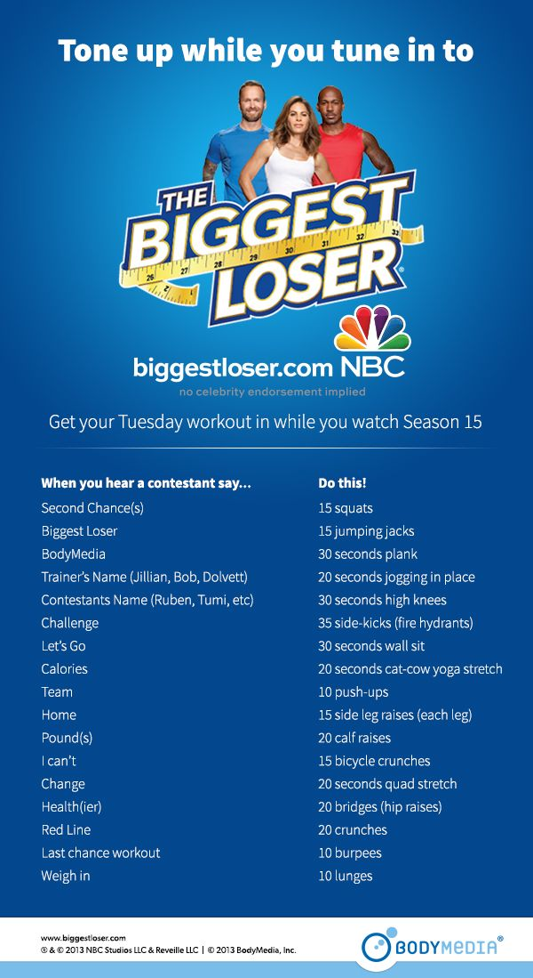 haha... like a TV-show drinking game, but with exercises instead. Good idea! | The Biggest Loser