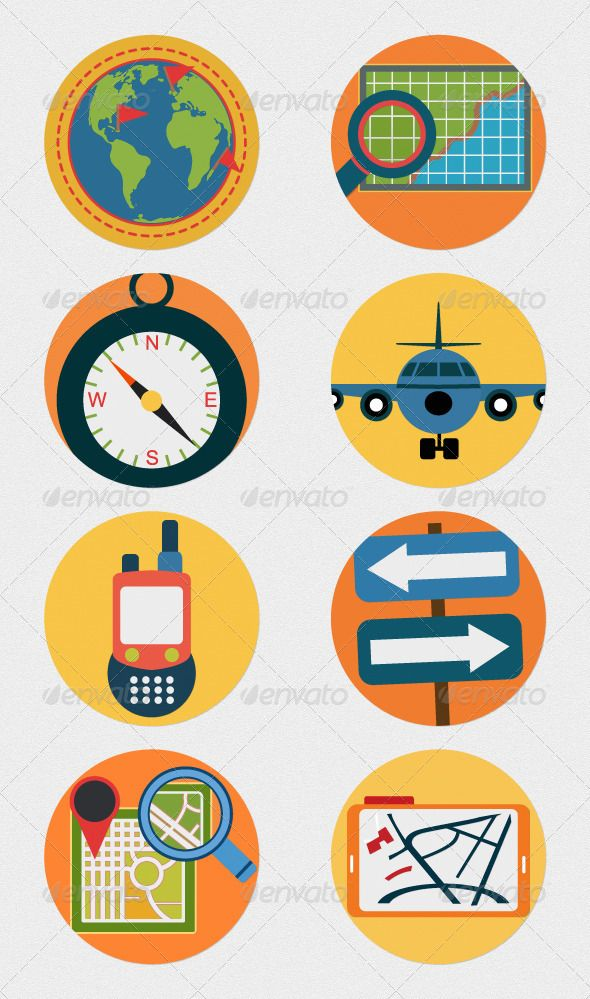 Mobile GPS Navigation Icons Flat Illustrations by Cursor Creative House, via Behance #colorful #web #flat #icons #icon #line #stroke #ios7 #flaticons #flaticon #seo #seoicons #navigation #map #mapicons #gpsicons #gps #gpsicon #mapicon #map
