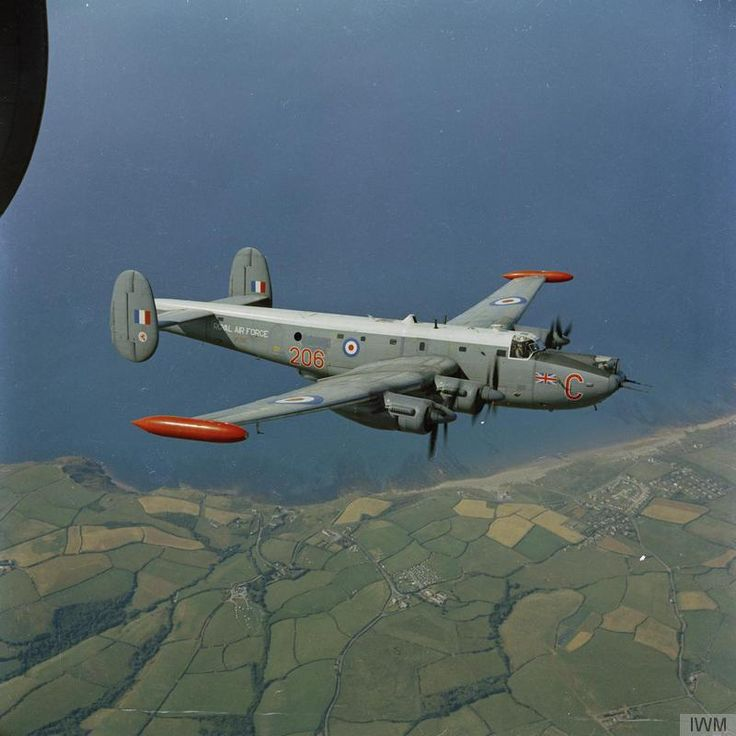 An Avro Shackleton MR3 (206:C) of No 206 Squadron at RAF St Mawgan, Cornwall inbound over nearby coastline.