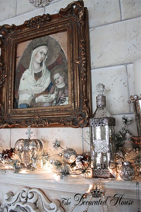 Christmas Mantel in White and Silver, Mercury Glass with Madonna art in vintage frame. by The Decorated House