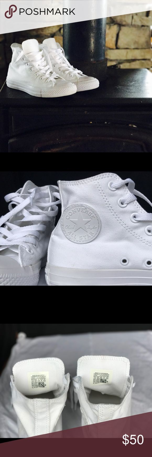 Unisex All white chuck Taylor converse All white chuck Taylor's.  Worn once, excellent condition unfortunately, too big for me. Open to reasonable offers. Converse Shoes Sneakers
