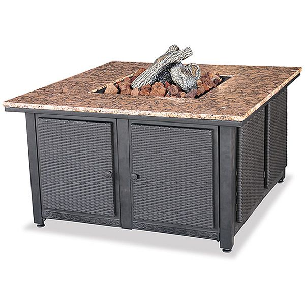 Charming Target : Propane Granite Firepit Table With Wicker Sides : Image Zoom