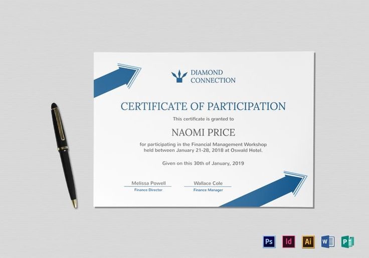Arrow Style Participation Certificate Template  $12  Formats Included : InDesign, Illustrator, MS Word, Publisher, Photoshop  File Size : 11.69x8.26 Inchs #Certificates #Certificatedesigns #Participationcertificates