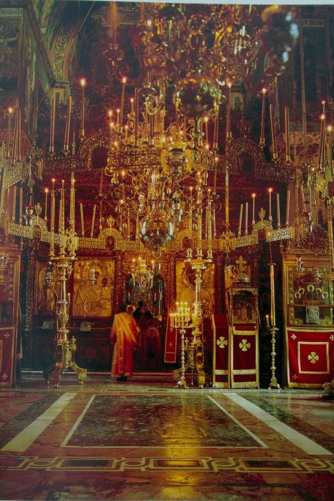Vatopedi Monastery, Mount Athos, showing how light becomes dynamic when reflected off polished brass and silver and the mosaic floors.