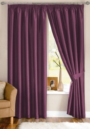 Java Faux Silk Aubergine Pencil Pleat Curtains (with tiebacks)  From £23.13