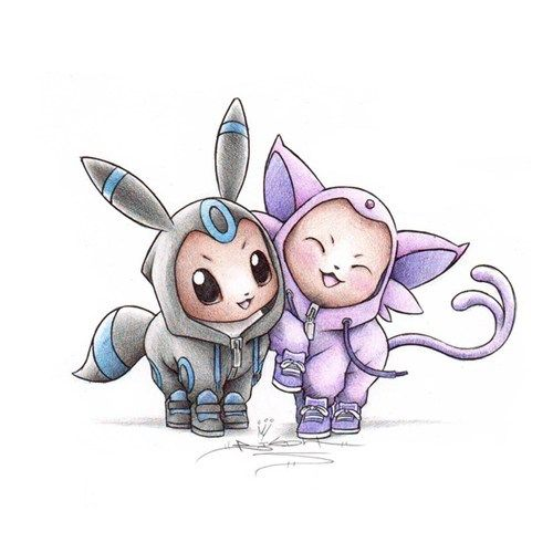 Eevee's wearing onesies of their evolutions. These things have turned my cold stone heart into a fluffy melted marshmallow. This artist has captured my heart with this cuteness; it's overwhelming!