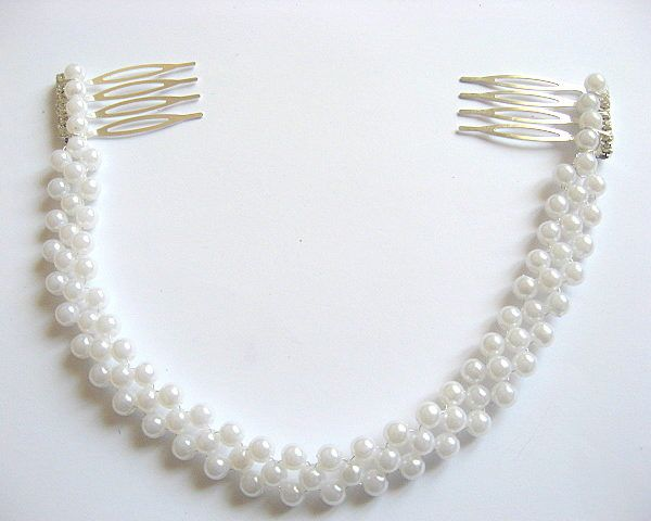 Coronita perle artificiale mireasa, coronita nunta - idei cadouri femei - produse handmade