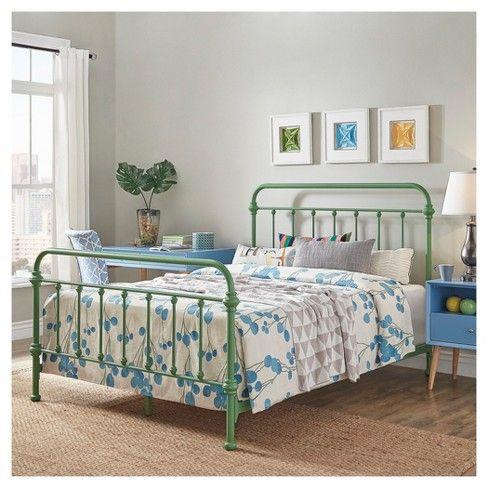 Tilden Ii Vintage Metal Bed Queen Spring Green Inspire Q