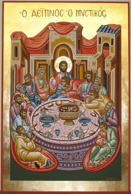 Last Supper - Adamantia Karatza Artwork Title: Religious icon of Last Supper, Painting Tempera. Contemporary artist from Athens Greece. Free Artist Portfolio Website - absolutearts.com